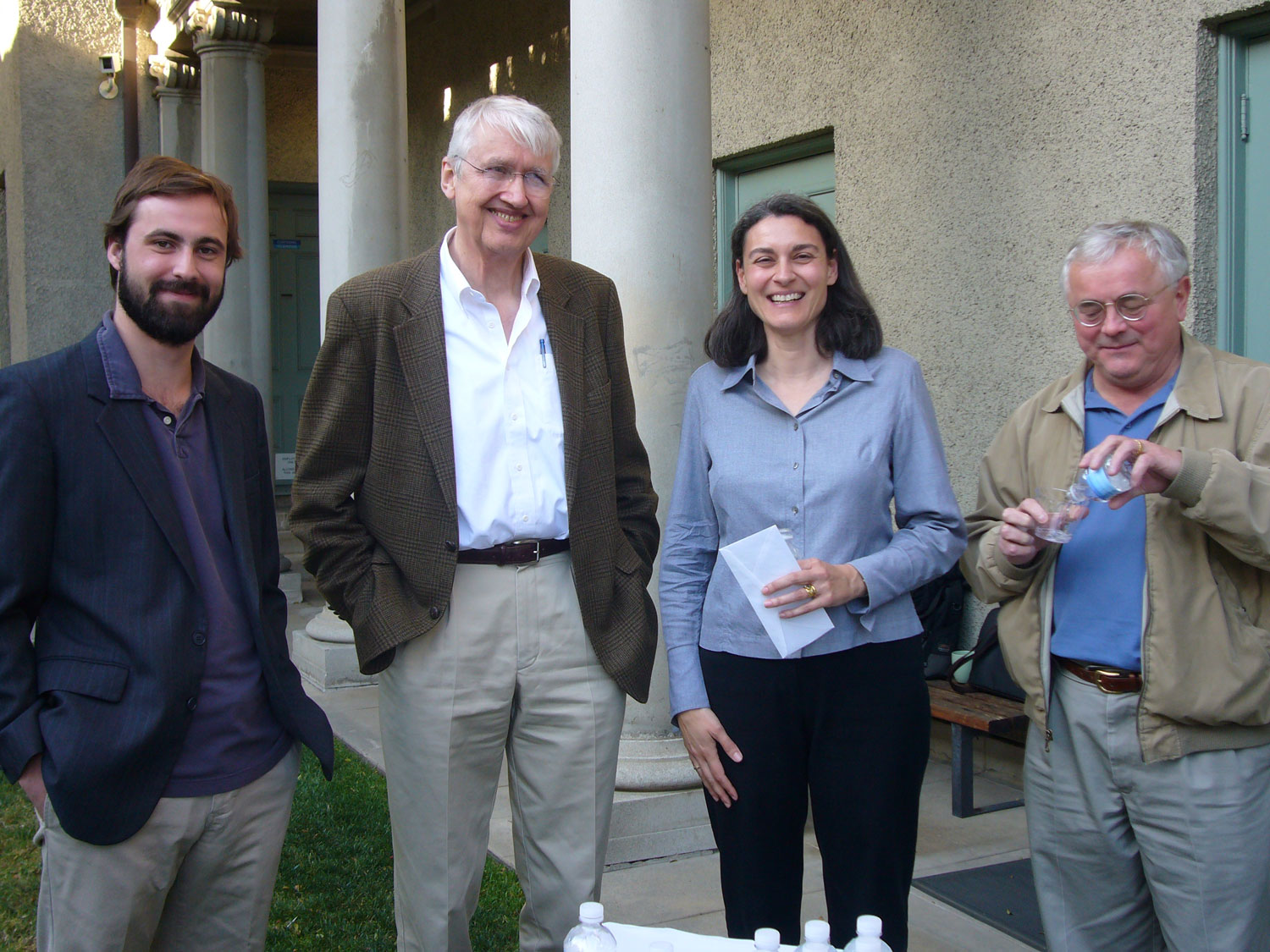 Jordan Gadd (09), Judson Emerick, Julie Nicoletta ('87) and George Gorse gather after Julie's talk on April 7, 2009