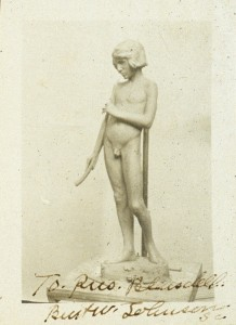 "Photograph of model of Burt Johnson's ""Spanish Music,"" 1916 sent by artist to President Blaisdell"