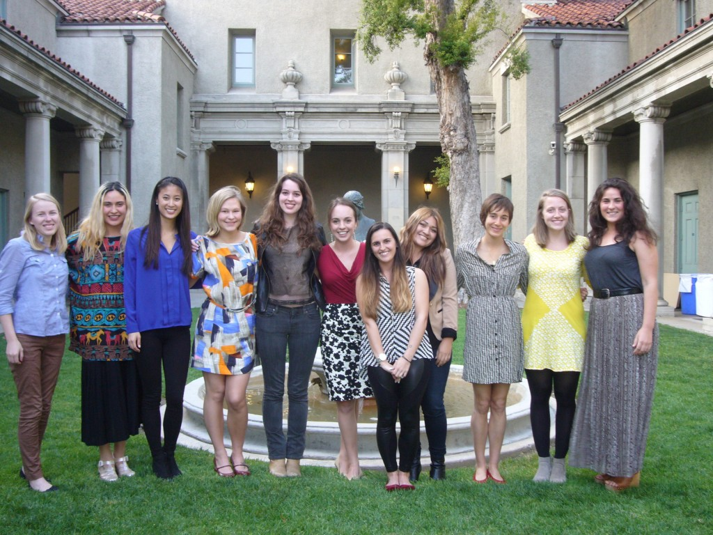 Left to right (art history majors unless indicated otherwise): Katie Carter (Art Conservation) Andrea Galdamez (Art History and Spanish), Brittnay Ahn, Skye Olson (Art Conservation), Kathleen LaManna, Mariel Frechette (GWS and Art HIstory), Aliza Hoffman (Art History and Anthropology), Shardai Zaragoza (Art History and English), Jess Rosenthal (Art Conservation), Lauren Quilty (Art History and Italian), Emma Molloy